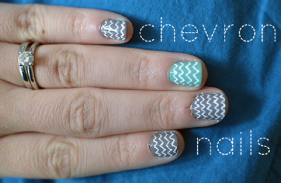 Posh Blue and Grey Chevron Nails