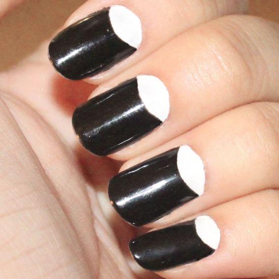 Black and White Half Moon Nails