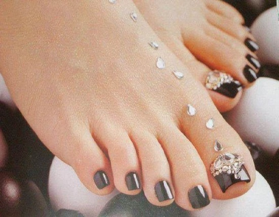 Black Sparkle Night Toe Art