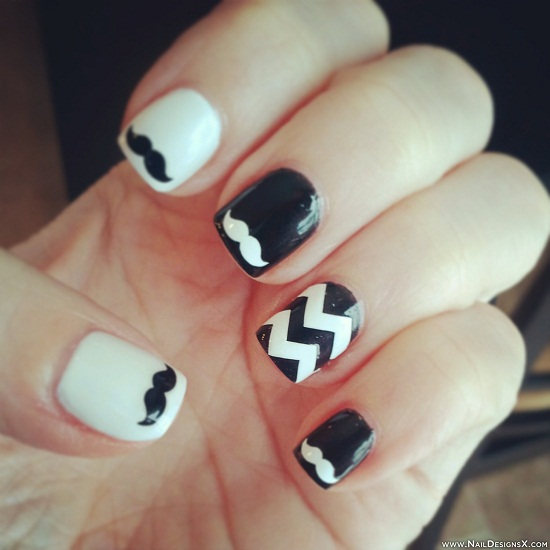 Black and White Mustache Nail Art