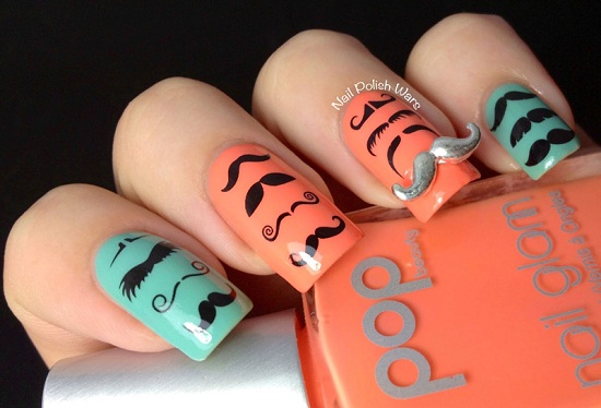 Different Mustache Nail Design