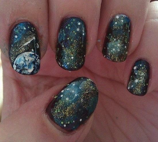 Earthy Galaxy Nails Tutorial
