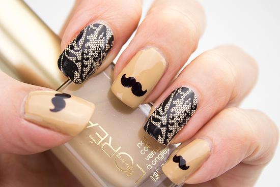 Elegant Mustache Nails