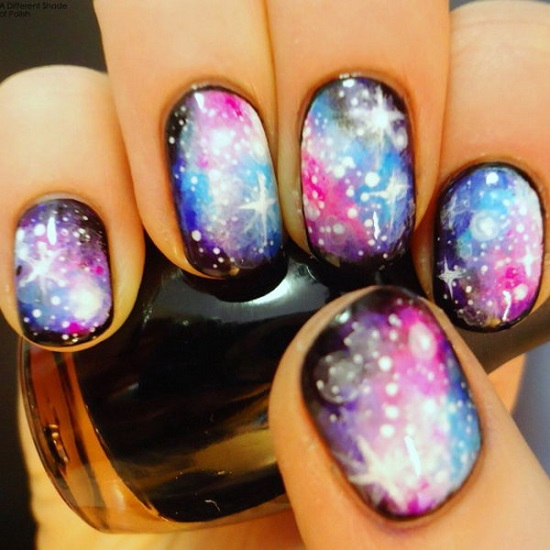 18 awesome galaxy nail art tutorials nail design ideaz glittery galaxies nail art prinsesfo Image collections