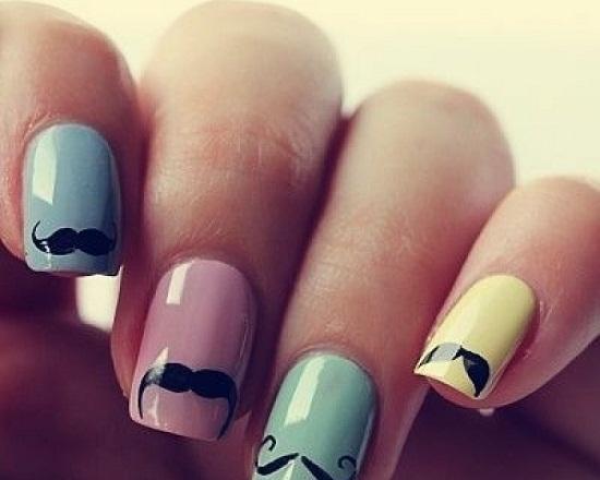 Multi-Colored Mustache Nails