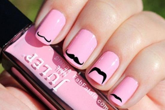 Pink Mustache Nail Design