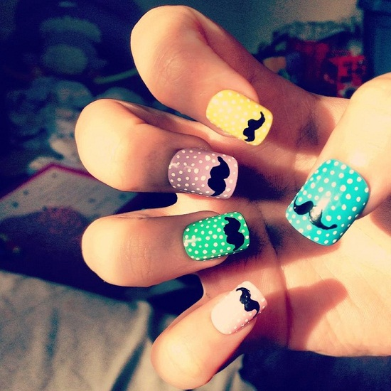 Polka Dots Mustache Nails