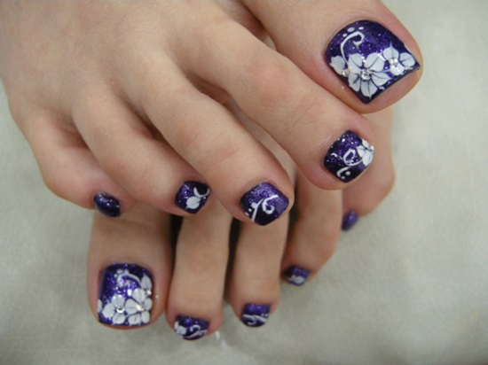 21 wedding toe nail art designs nail design ideaz purple starry attack prinsesfo Choice Image