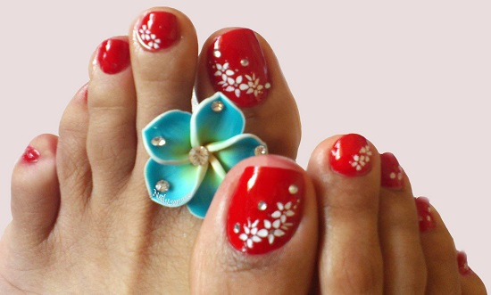 Red Beads Toe Nail Design - 21 Wedding Toe Nail Art Designs Nail Design Ideaz
