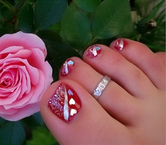 Red Hearts Toe Nails