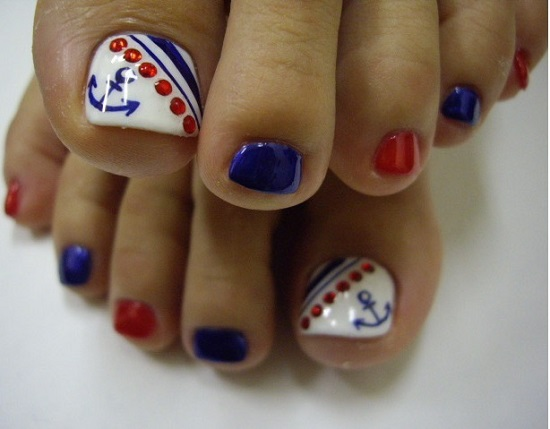 Sailor Toe Nails Design