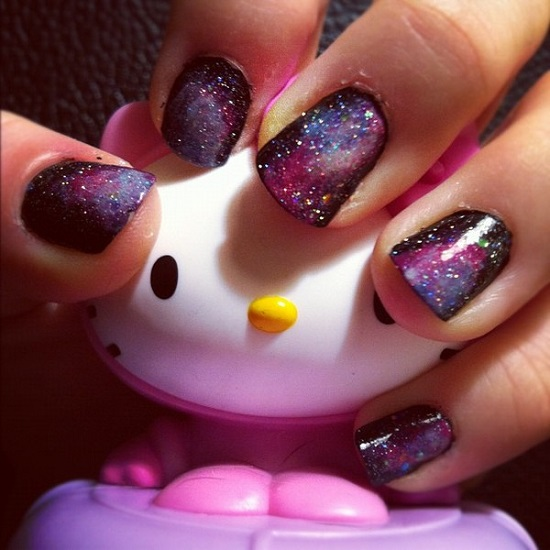 Sparkle Galaxy Nail Designs