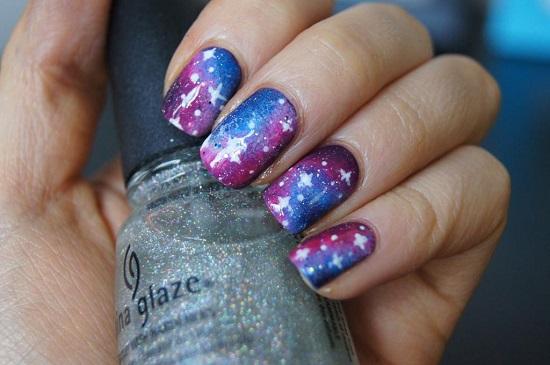 Starry Night Galaxy Nails Art