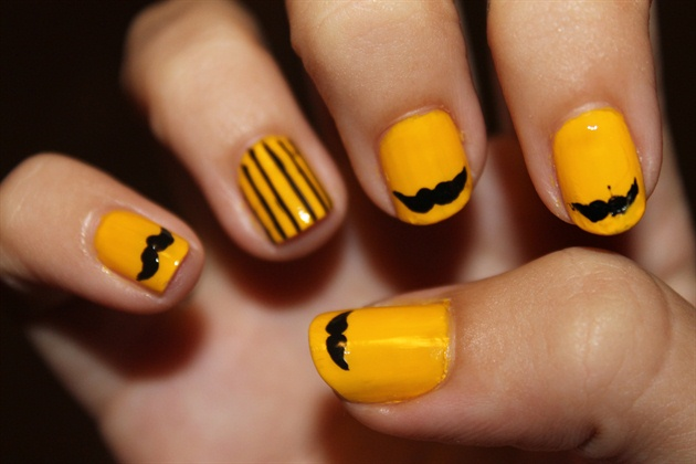 Stripped Mustache Nail Art
