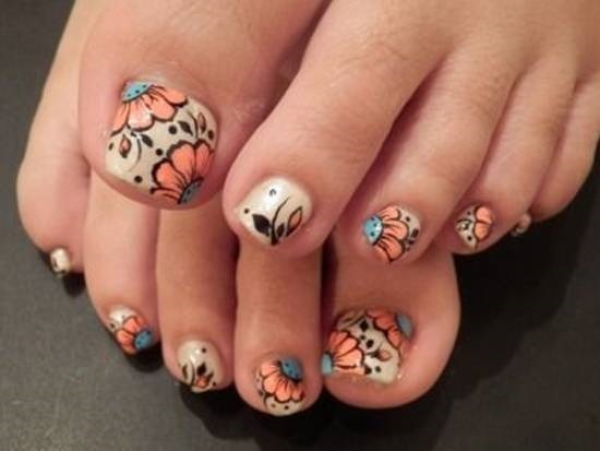 Subtle Flower Collection Toe Nails
