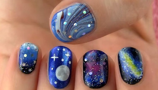 Three Galaxies Nail Art