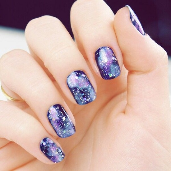 Trendy Purple Galaxy Nail Arts