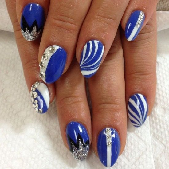 Nail designs for royal blue dress beautiful royal blue nail view images gorgeous valentines day acrylic nail designs prinsesfo Images