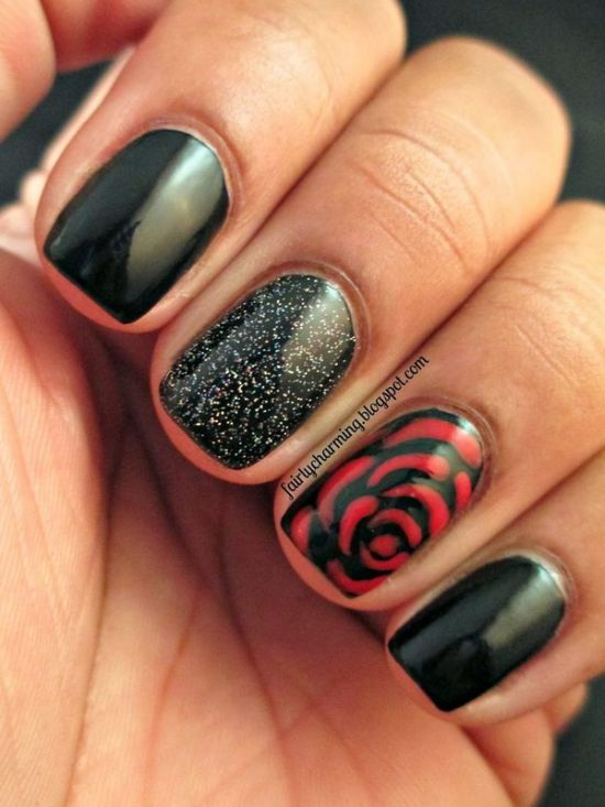 Rose Nail Art - 50 Creative Rose Nails Designs Nail Design Ideaz