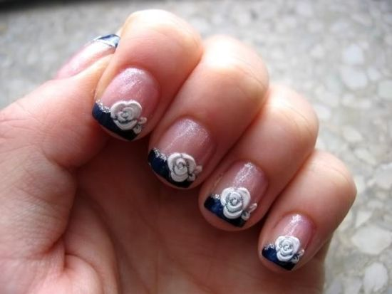 White rose nail art
