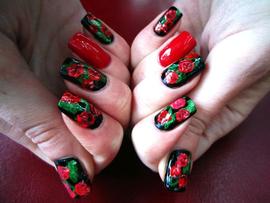 Floral Nail Art - 50 Creative Rose Nails Designs Nail Design Ideaz