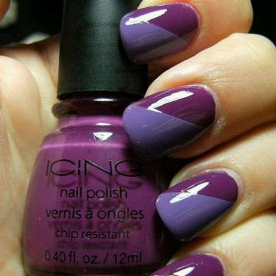 two tone purple nail art