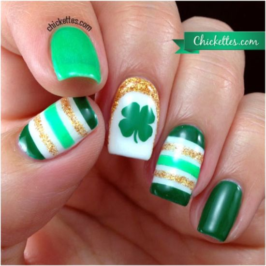 Colorful Shamrock and Strips on Irish Nails - 31 Glam St.Patrick's Day Nail Designs Nail Design Ideaz