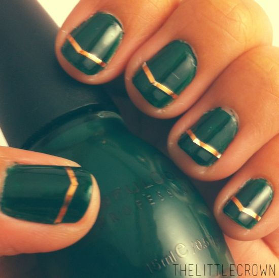 31 glam sttricks day nail designs nail design ideaz green gold irish nail art with strips prinsesfo Choice Image