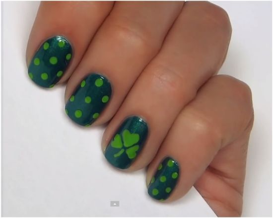 Polka Dots And Shamrock Irish Nail Art - 31 Glam St.Patrick's Day Nail Designs Nail Design Ideaz