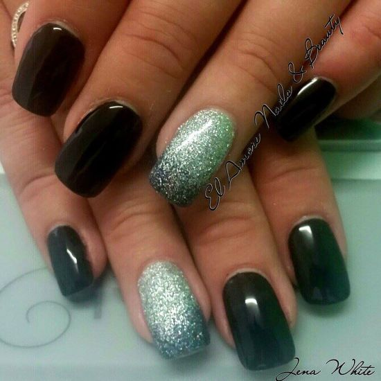 35 stunning two tone nails designs nail design ideaz two tone black and silver glitter feature nails prinsesfo Gallery