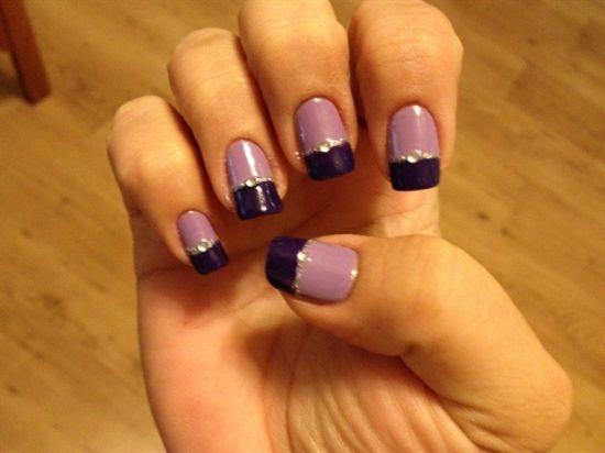 Two tone purple nail art design with stone - 35 Stunning Two Tone Nails Designs Nail Design Ideaz