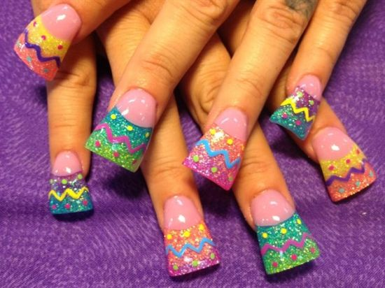 Stylish shimmering Easter nail art - 39 Rocking Easter Nail Art Designs Nail Design Ideaz