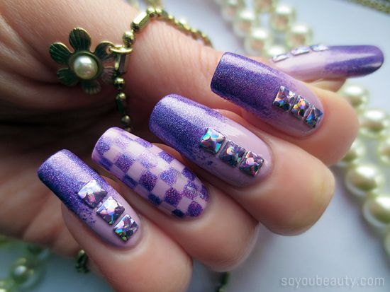 37 amazing purple nail designs nail design ideaz adorable purple checkered nail art with studs prinsesfo Images