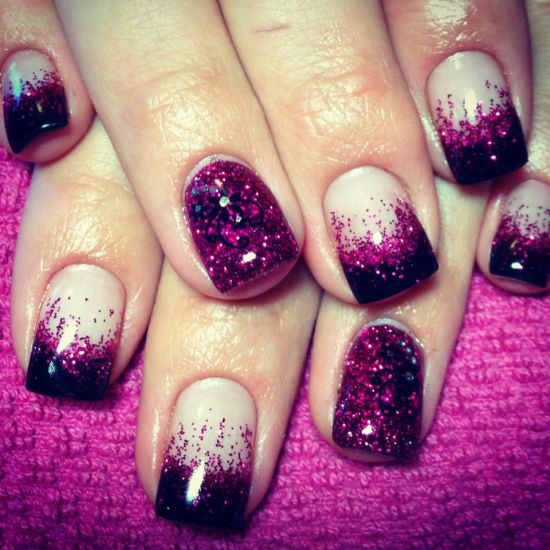 33 trendy glitter nail art design ideas to rock 2016 alluring pink and black glitter nails prinsesfo Choice Image