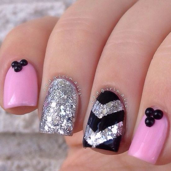 33 trendy glitter nail art design ideas to rock 2016 amazing pink and black glitter nails prinsesfo Choice Image