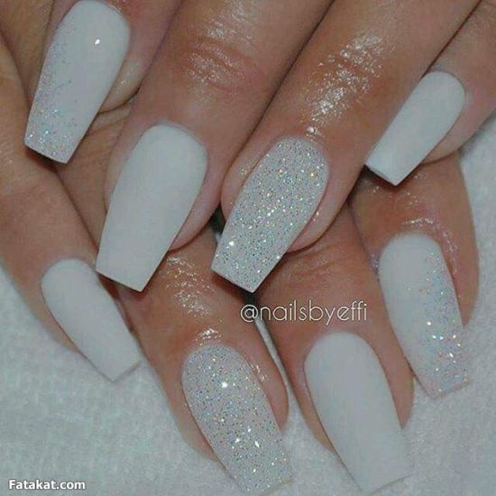 Awesome white glitter nail design - 33 Trendy Glitter Nail Art Design Ideas To Rock 2016