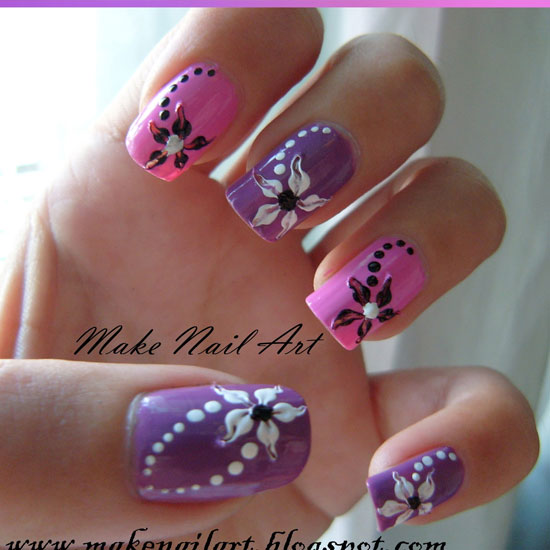 37 amazing purple nail designs nail design ideaz beautiful purple nails with flowers prinsesfo Choice Image