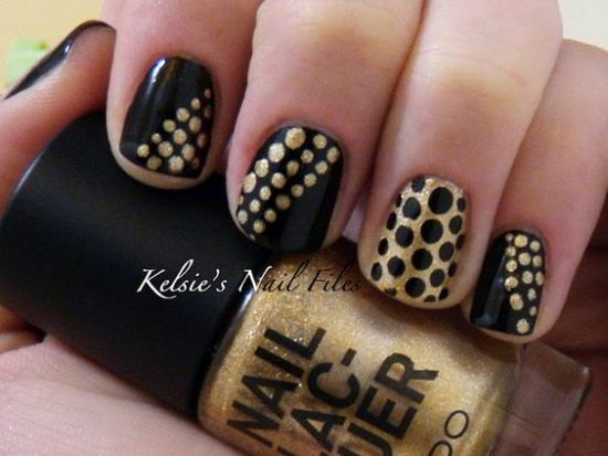 35 perfect black and gold nail art designs chic black and gold polka dot nail art prinsesfo Images