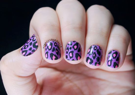Cute purple animal printed nail art - 37 Amazing Purple Nail Designs Nail Design Ideaz
