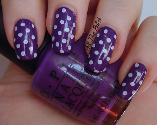 Cute purple nails with white polka dots - 37 Amazing Purple Nail Designs Nail Design Ideaz