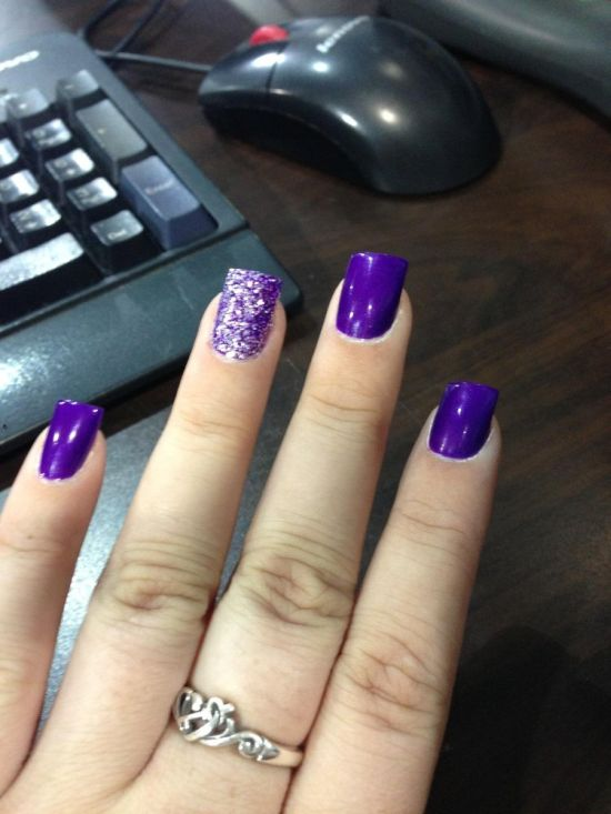 Glossy purple art with dust diamond accent nail - 37 Amazing Purple Nail Designs Nail Design Ideaz