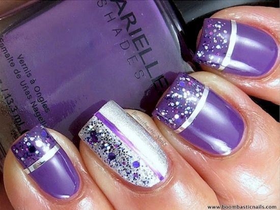 Gorgeous Purple Glitter And Striped Nails