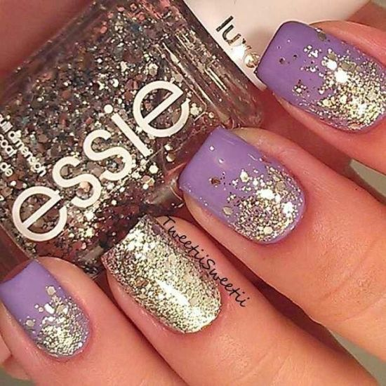 Gorgeous purple nail art with golden shimmer - 37 Amazing Purple Nail Designs Nail Design Ideaz