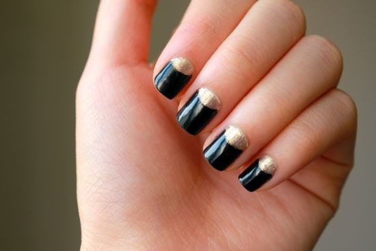 35 perfect black and gold nail art designs gold nail art designs half moon black and golden nails prinsesfo Images
