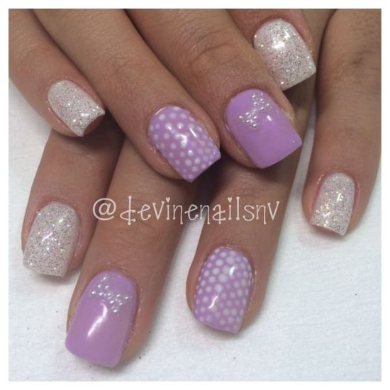 Light purple gel nails with white diamond glitter - 37 Amazing Purple Nail Designs Nail Design Ideaz