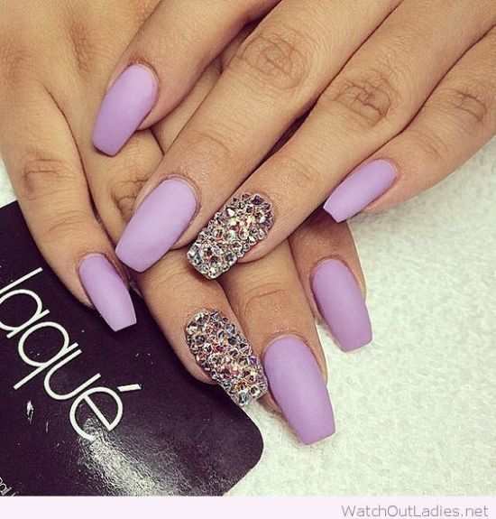 Light purple nails with diamond accent nails - 37 Amazing Purple Nail Designs Nail Design Ideaz