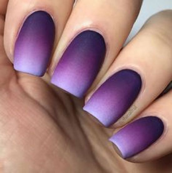 37 amazing purple nail designs nail design ideaz matte purple ombre two tone nails prinsesfo Gallery