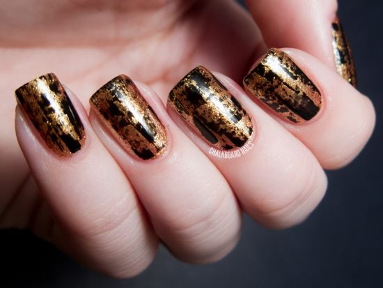 35 perfect black and gold nail art designs party perfect black and gold crackle nail design prinsesfo Images