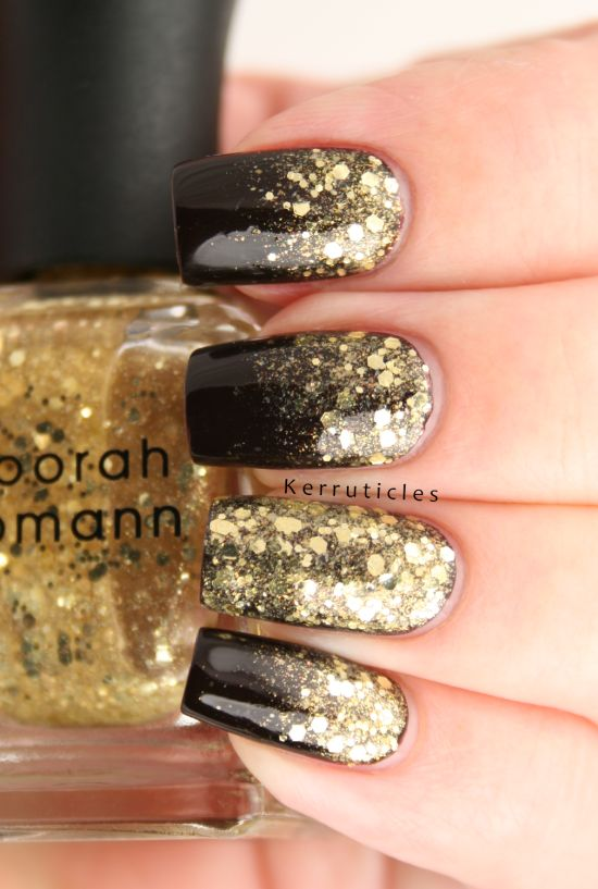Party perfect gold and black nails with gradient effect - 35 Perfect Black And Gold Nail Art Designs