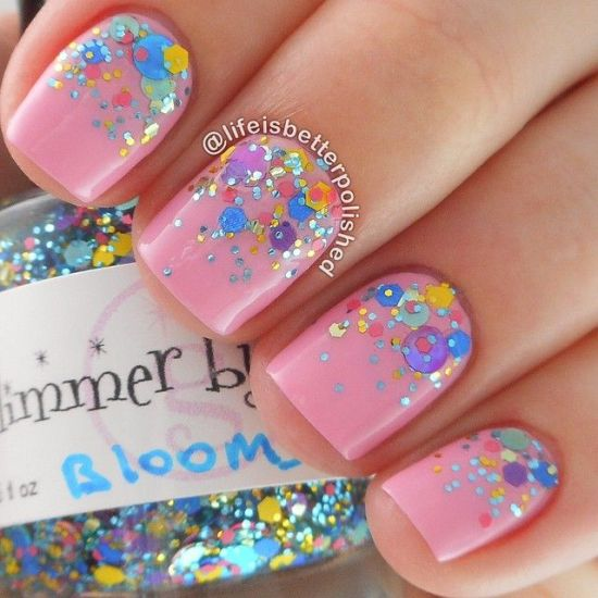 33 trendy glitter nail art design ideas to rock 2016 pastel pink glitter nails prinsesfo Images